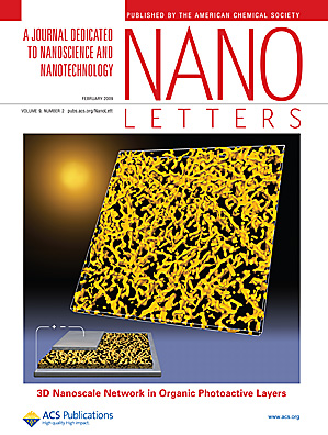 The cover image depicts the three-dimensional network of poly(3-hexylthiophene) (P3HT) nanorods formed in a photoactive layer made of P3HT and a methanofullerene derivative PCBM. This network structure was reconstructed with nanometer resolution in all three dimensions by applying the technique of electron tomography. A great deal of new structural information that can never be obtained from conventional microscopy or scattering methods can be evaluated directly from the 3D volume data provided by electron tomography. The genuine three-dimensionality of the P3HT network, high crystalline order of P3HT, and favorable distribution of both P3HT and PCBM through the thickness of the photoactive layer account for high power conversion efficiency in the corresponding solar cell device. Svetlana S. van Bavel, Erwan Sourty, Gijsbertus de With, and Joachim Loos, p 507